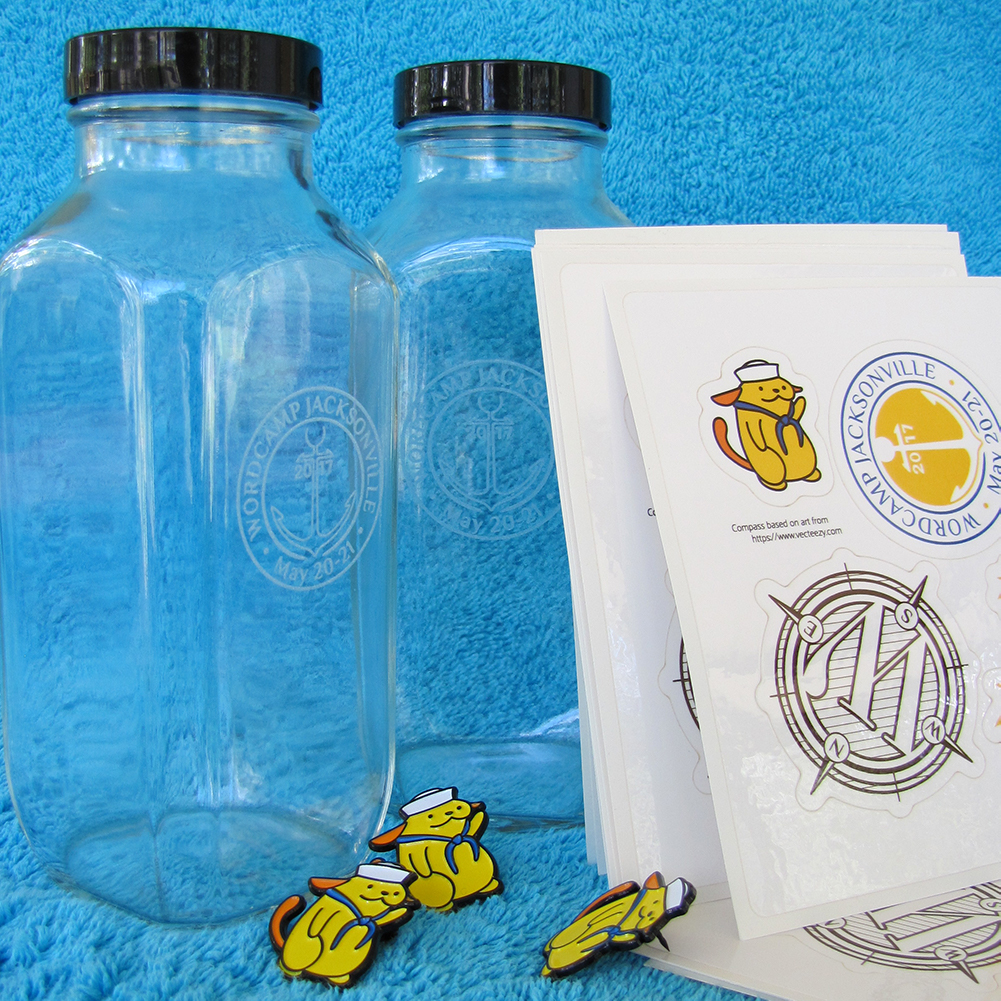 Glass bottle with edged logo, lapel pins, & stickers