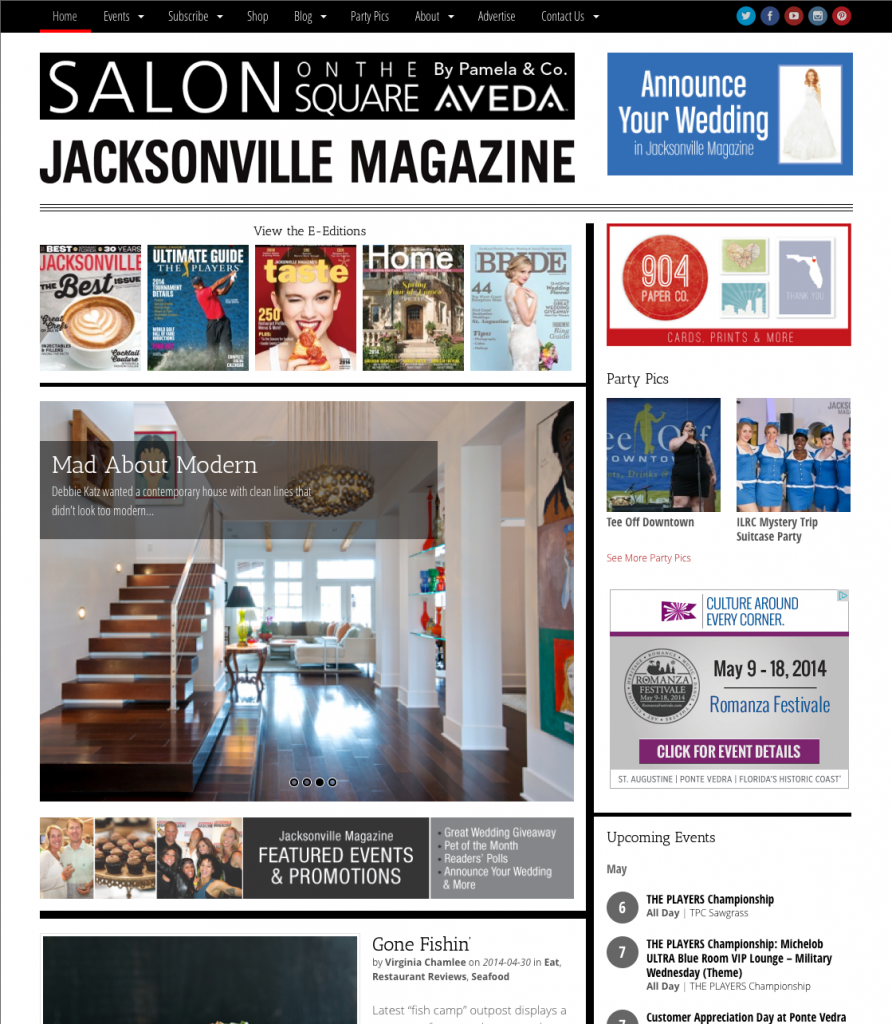 We redesigned the Jacksonville Magazine website on behalf of Rock My Image.