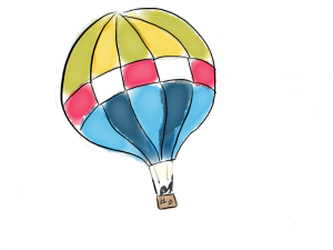 Penguin flying in a hot air balloon