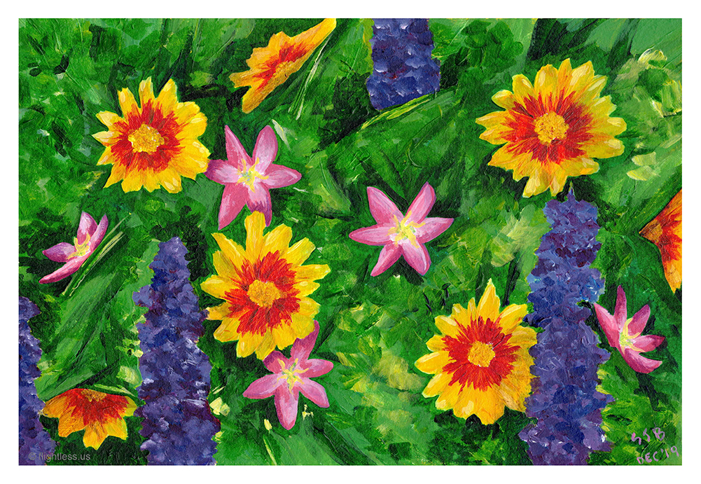 Painting of wildflowers using CMYK method