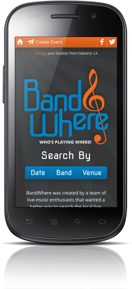 BandWhere Home page on mobile phone