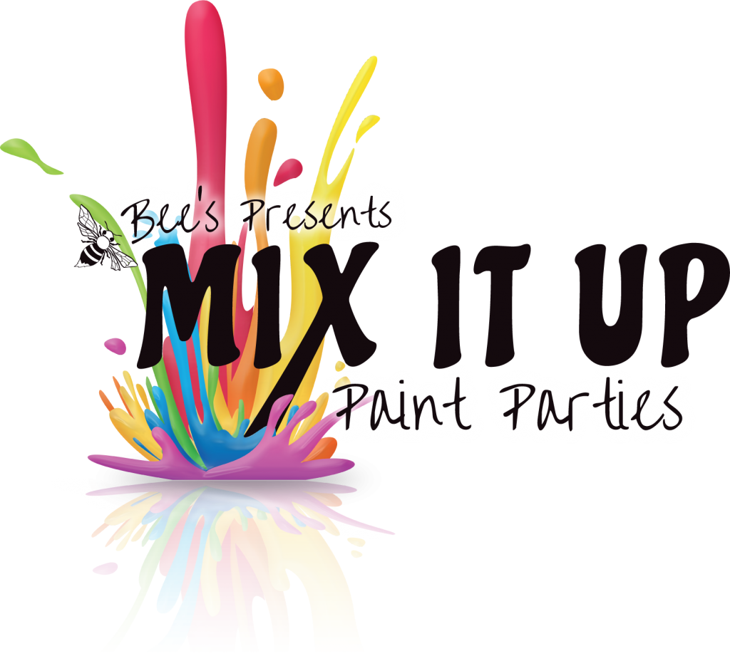Bee's Presents: Mix It Up Paint Parties - dark text with big, rainbow paint splash in the background