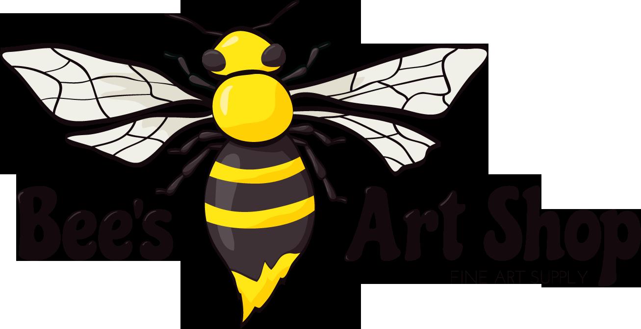 Original logo for Bee's Art Shop - illustration of bumblebee with paint-brush-like stinger