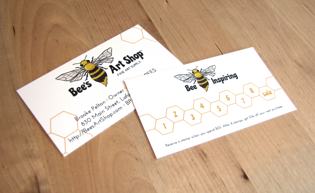 Original Bee's Art Shop business card with rewards card on the back