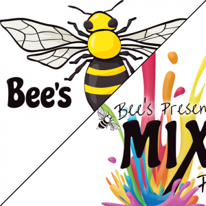 Comparison of Bee's Art Shop logo and Mix It Up Paint Parties logo