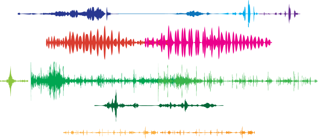 Images of sound waves from various recording of bees buzzing, and music about bees