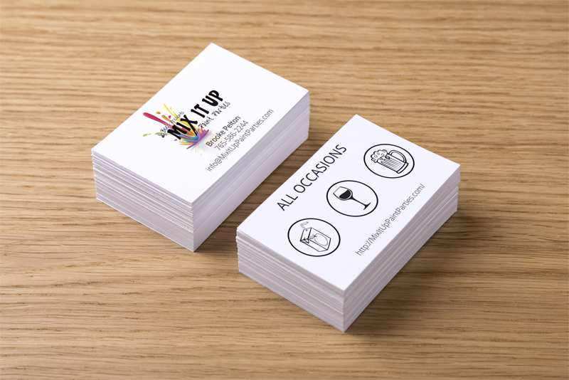 Mix It Up business card stacks - front and back