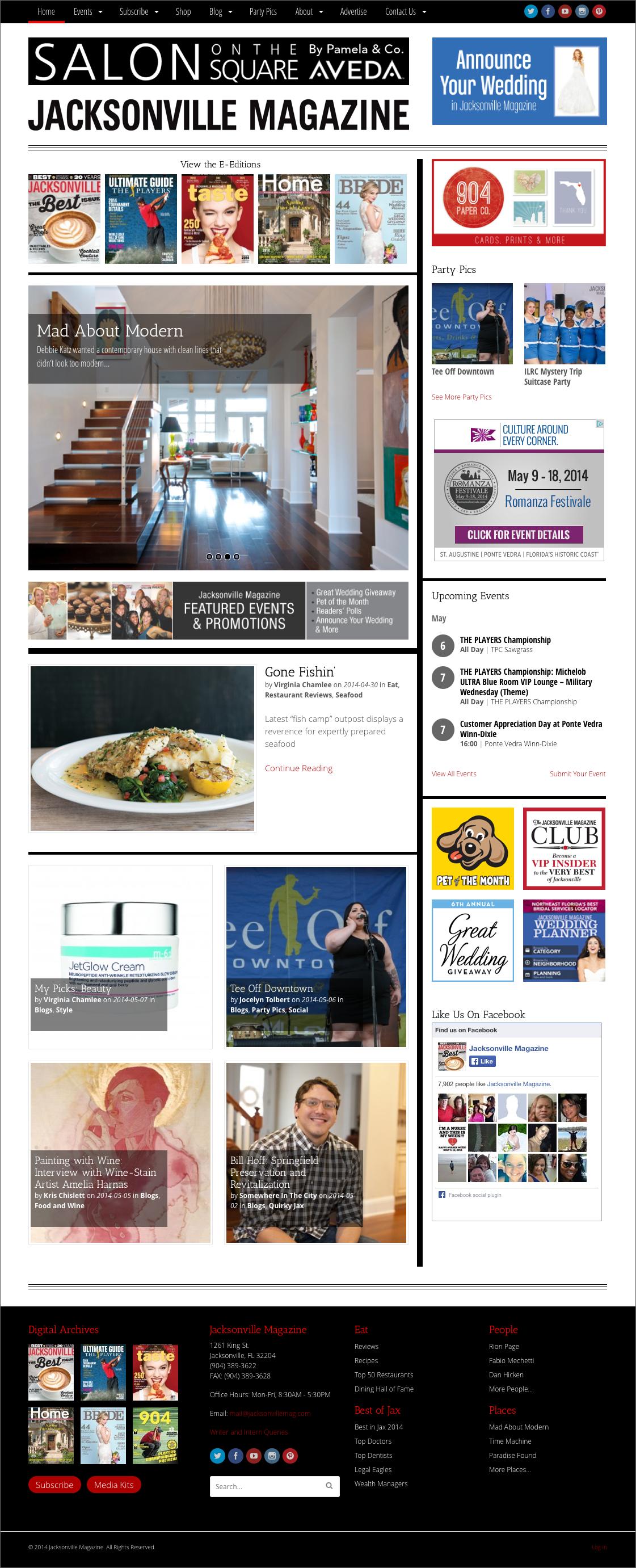 Jacksonville Magazine website - screenshot of homepage