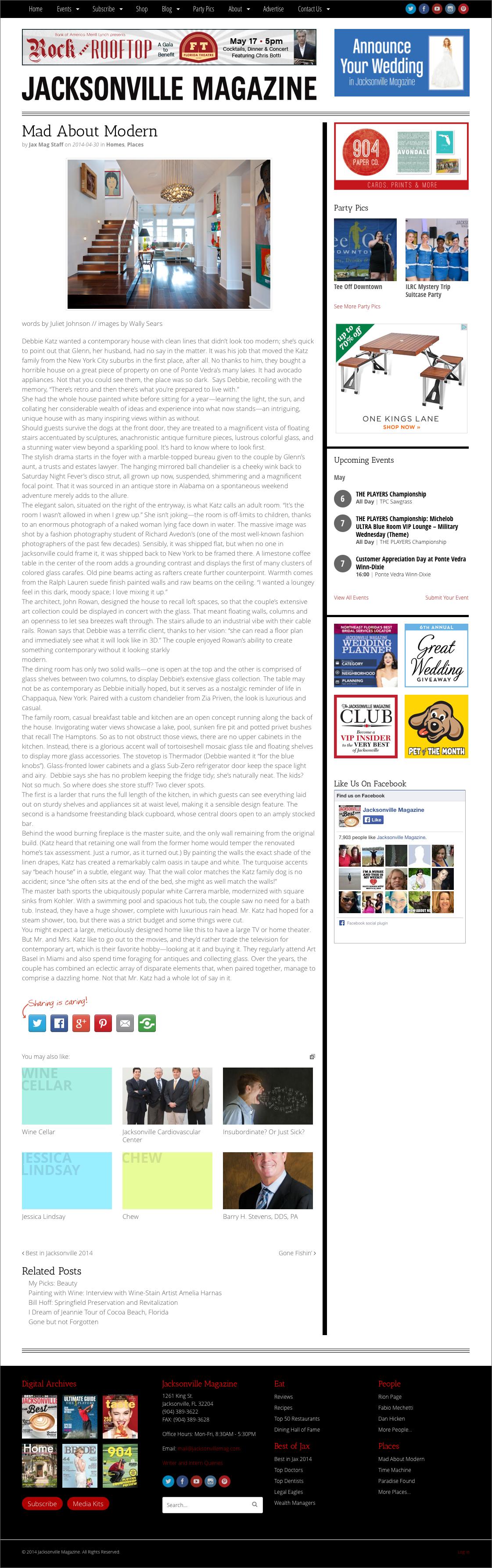Jacksonville Magazine website screenshot - single article page