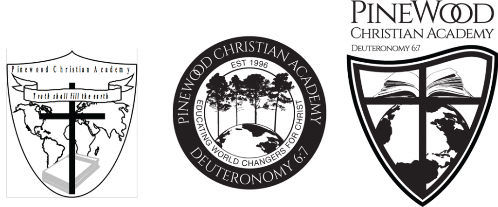 Old Pinewood Christian Academy Logo next to two new proposals, a seal and a crest