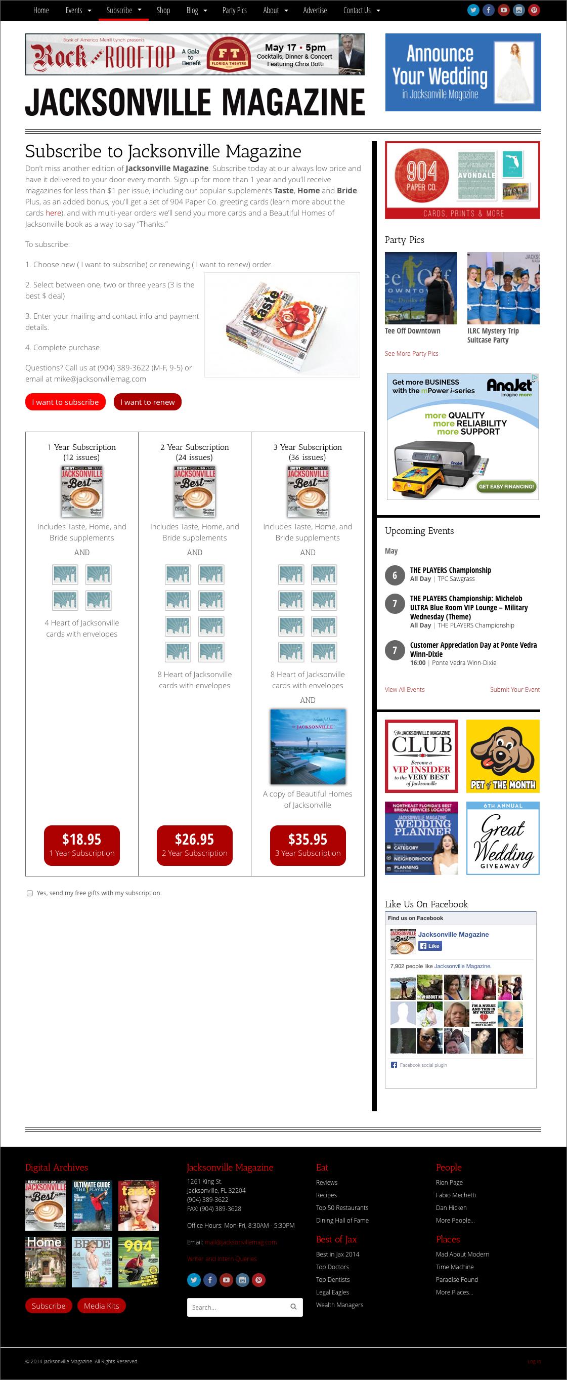 Jacksonville Magazine website - subscription page