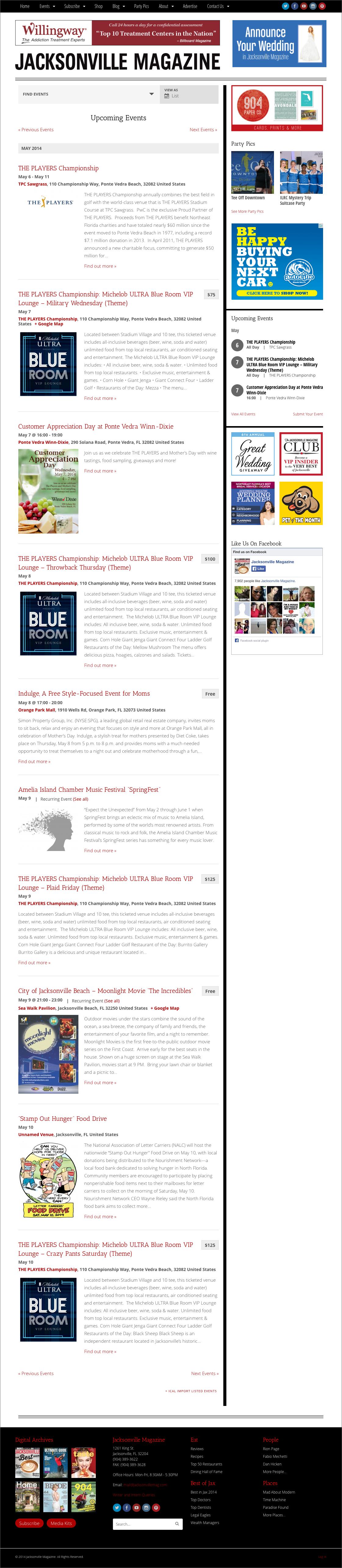 Jacksonville Magazine website screenshot - Upcoming Events