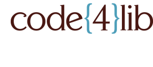 code{4}lib logo -- the brackets are in blue and the text and number is brown