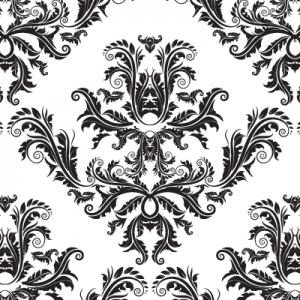 Black and white damask pattern