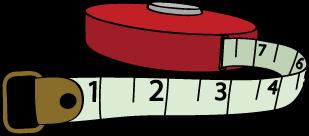 Illustration of small tape measure.