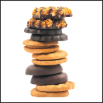 Tower of cookies: peanut butter sandwich, chocolate covered, rings with coconut and caramel and chocolate