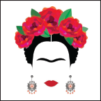 Stylized face of woman with flowers in her hair, large earrings, red lips, and a unibrow
