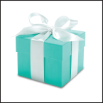 Box in robin-egg blue with white ribbon tied around it and a bow on top
