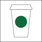 Outline of a white coffee mug with a large green circle in the middle