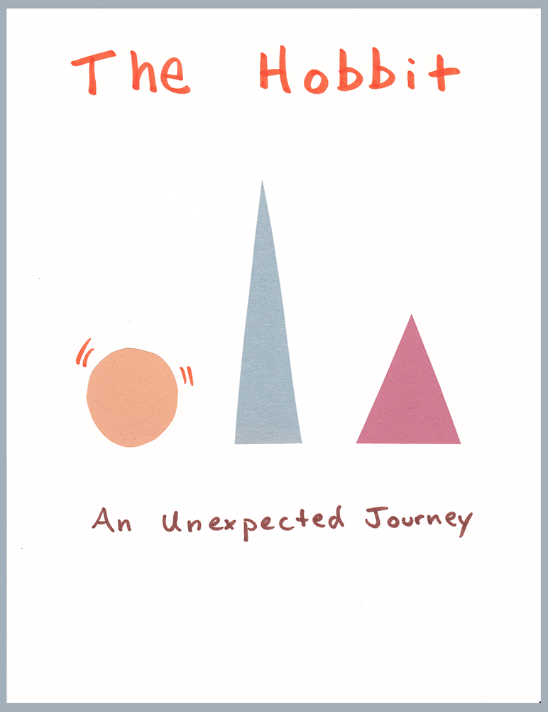 "Book cover for ""The Hobbit"" using abstract simplicity. Imagery: orange circle with vibration lines, tall and skinny grey triangle, wide red triangle just a little taller than the circle."